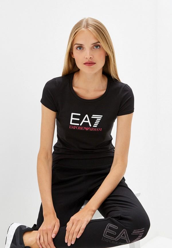 женская футболка ea7, черная