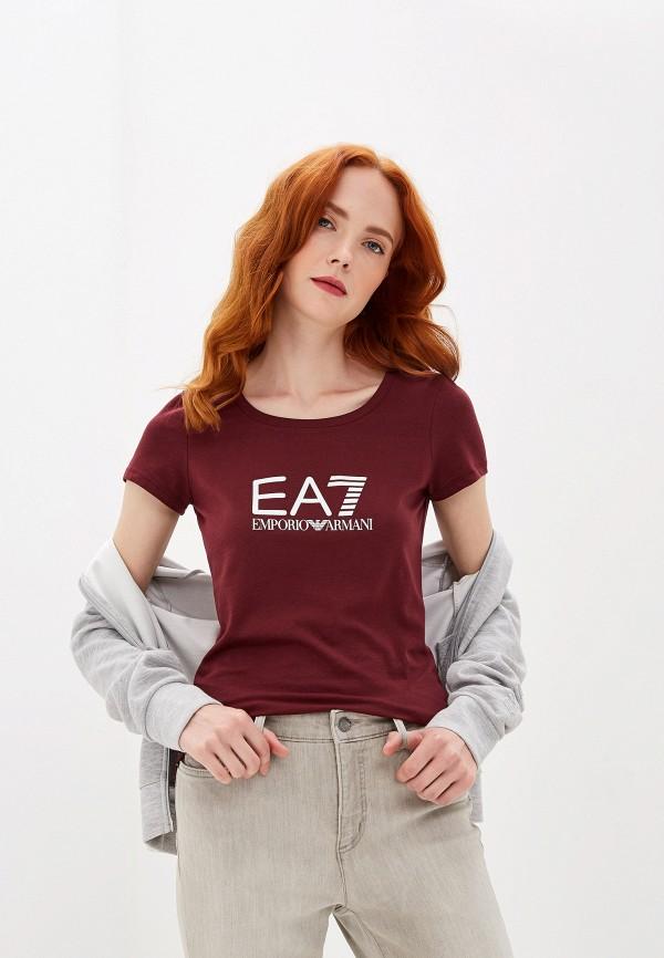 женская спортивные футболка ea7, бордовая
