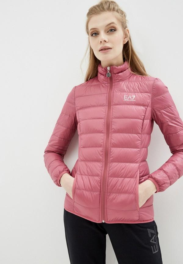 женский пуховик ea7, розовый