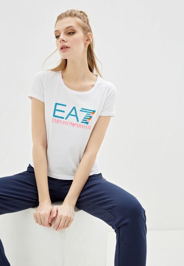 женская футболка ea7, белая