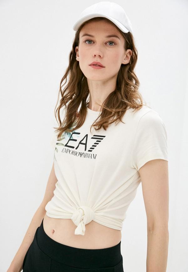 женская футболка ea7, бежевая