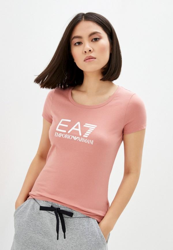женская футболка ea7, розовая