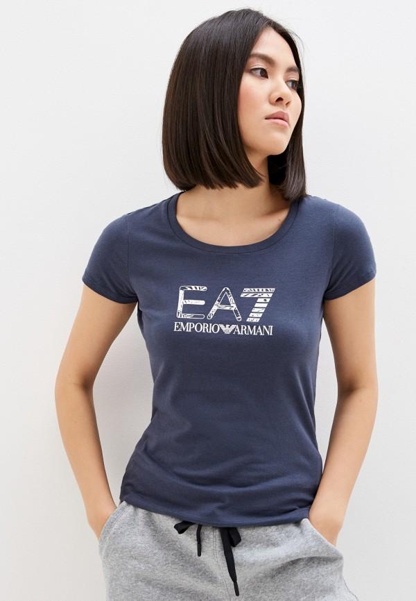 женская футболка ea7, синяя