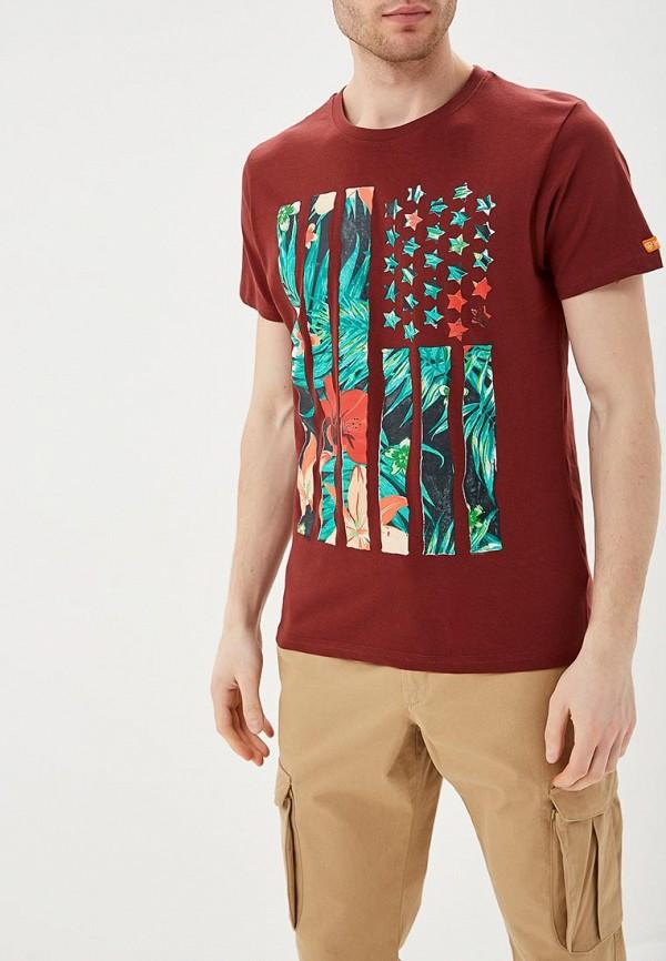 мужская футболка с коротким рукавом e-bound, бордовая