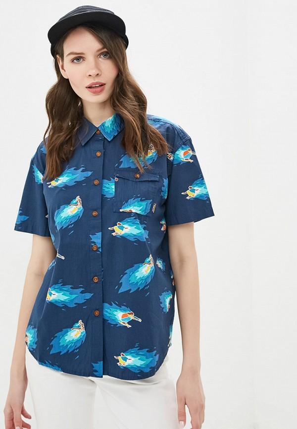 женская рубашка с коротким рукавом element, синяя