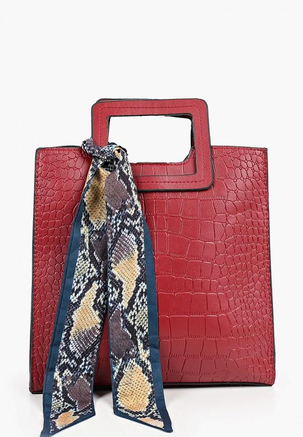 женская сумка с ручками elsi, бордовая