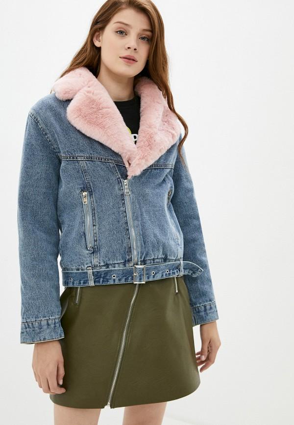 женская джинсовые куртка elsi, бордовая