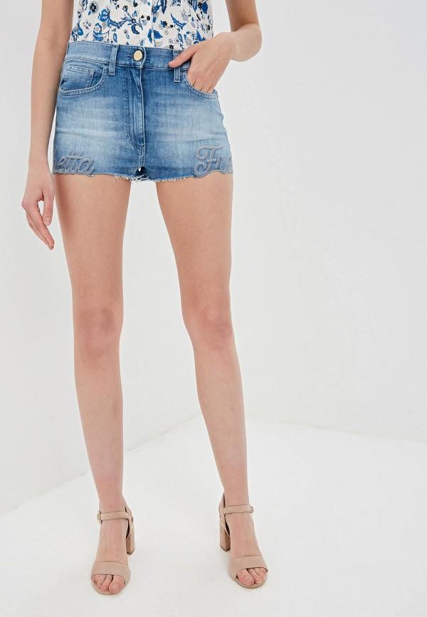 женские джинсовые шорты elisabetta franchi, синие