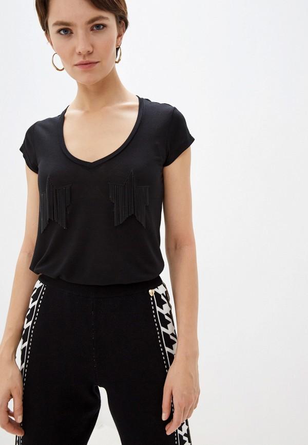 женская футболка elisabetta franchi, черная
