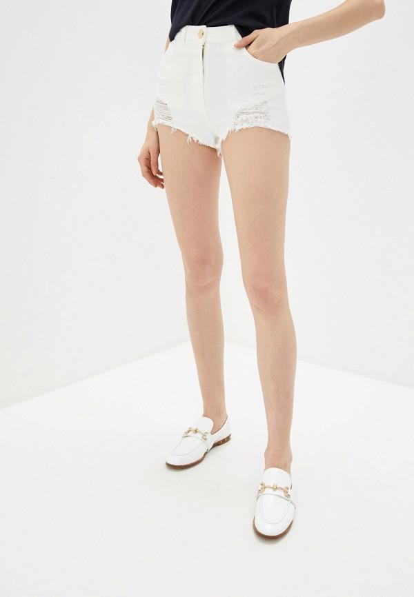 женские джинсовые шорты elisabetta franchi, белые