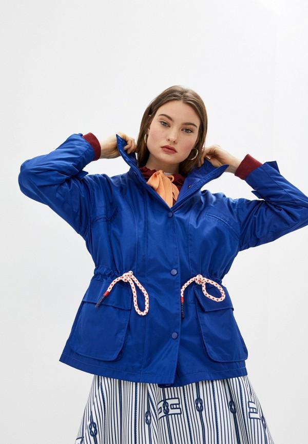 женская куртка elisabetta franchi, синяя