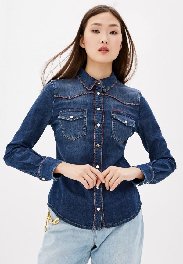 женская джинсовые рубашка elisabetta franchi, синяя
