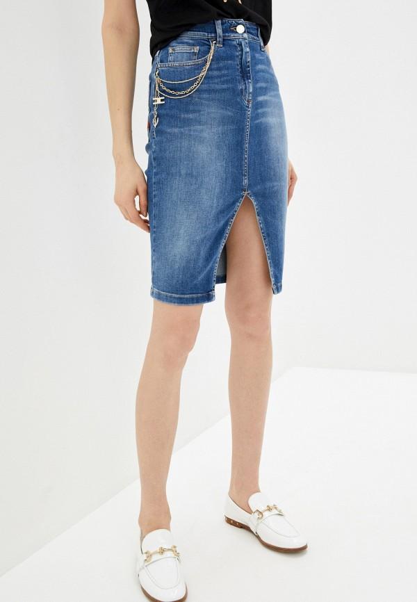 женская джинсовые юбка elisabetta franchi, синяя