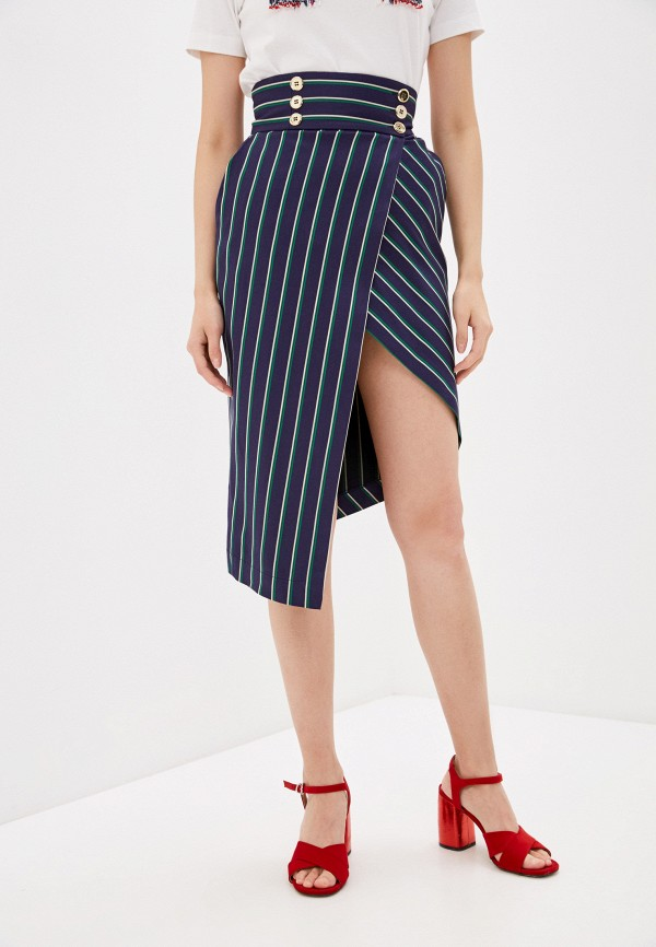 женская прямые юбка elisabetta franchi, синяя