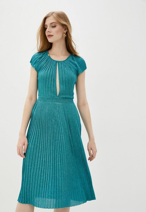 женское повседневные платье elisabetta franchi, бирюзовое