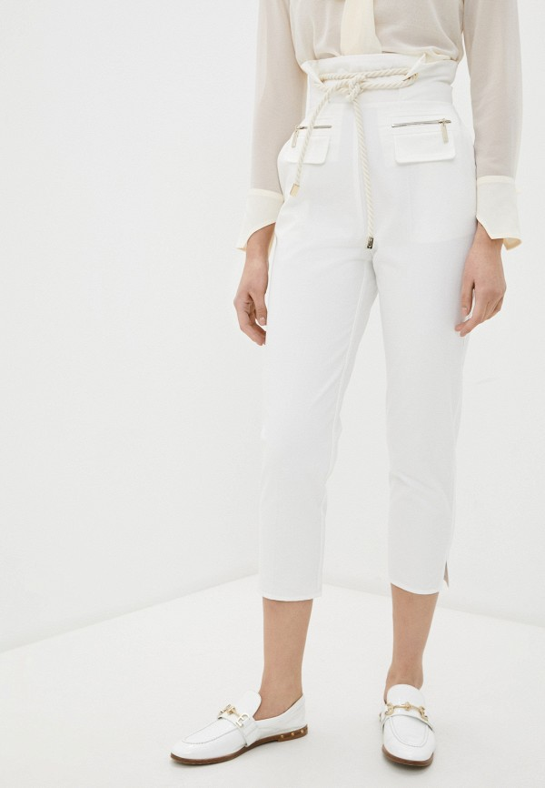 женские повседневные брюки elisabetta franchi, белые