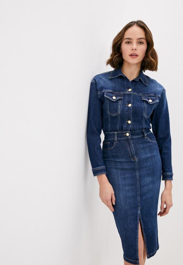 женское джинсовые платье elisabetta franchi, синее