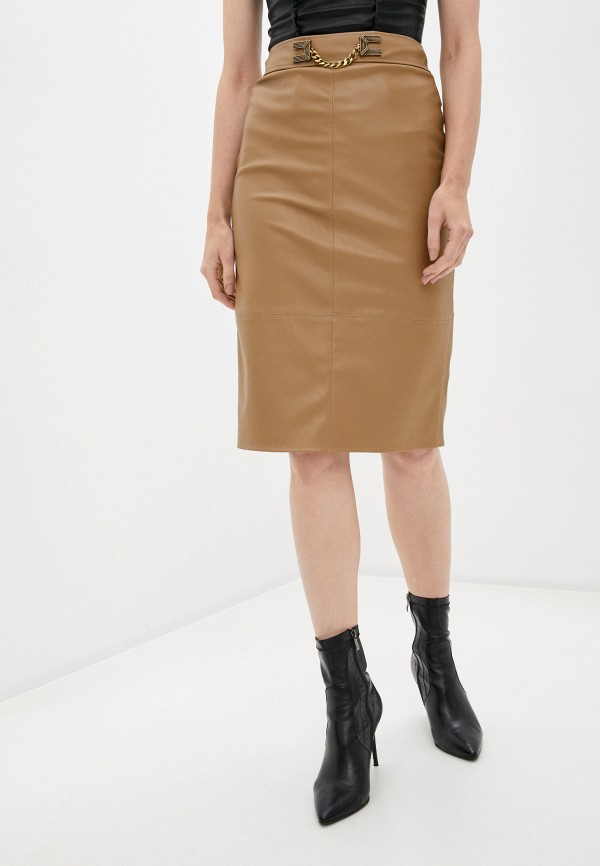 женская юбка elisabetta franchi, бежевая