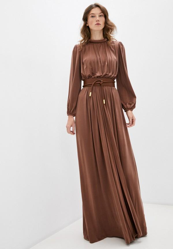 женское вечерние платье elisabetta franchi, коричневое