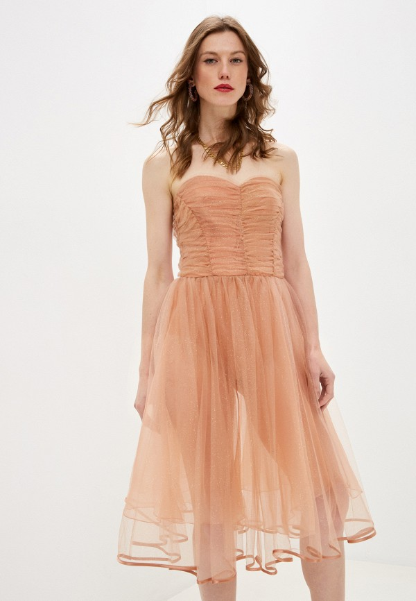 женское вечерние платье elisabetta franchi, бежевое