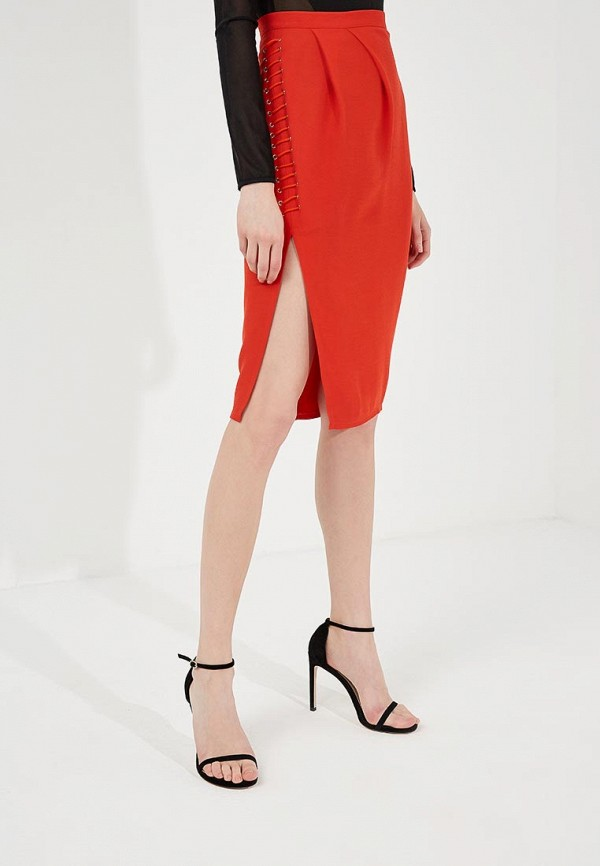 женская зауженные юбка elisabetta franchi, красная