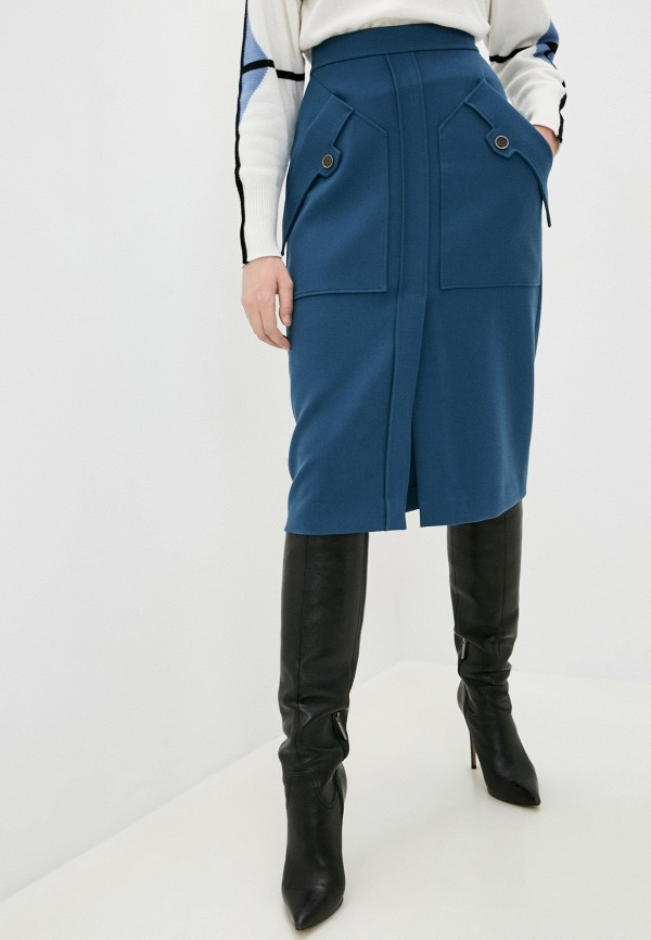 женская прямые юбка eleventy, голубая