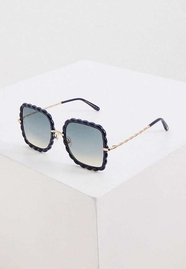 женские квадратные солнцезащитные очки elie saab, синие