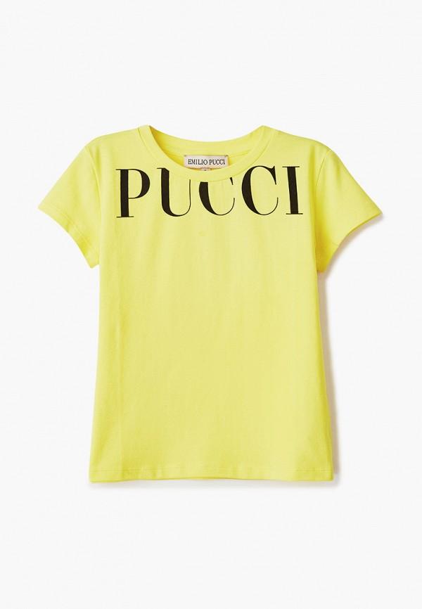 футболка с коротким рукавом emilio pucci для девочки, желтая