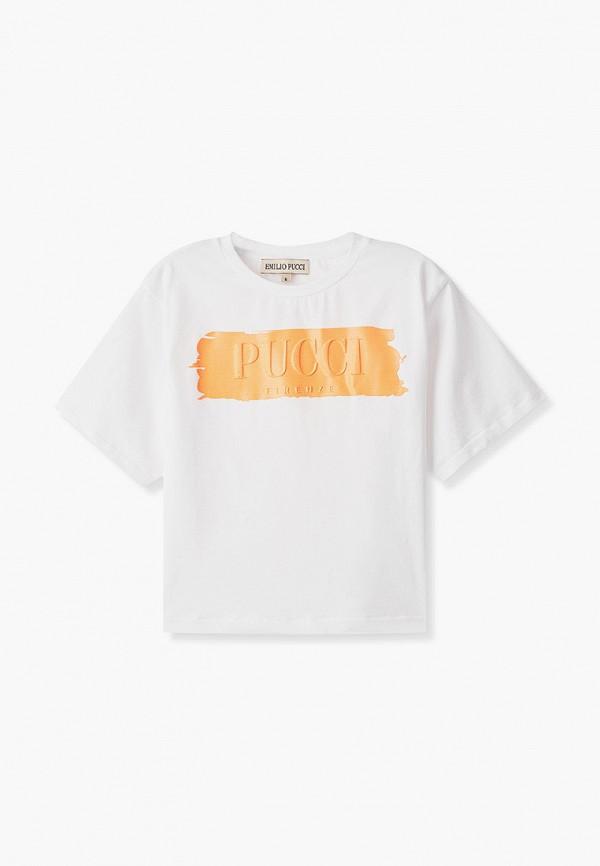футболка с коротким рукавом emilio pucci для девочки, белая