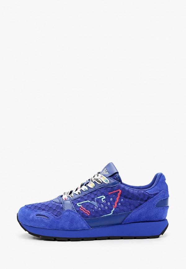 женские низкие кроссовки emporio armani, синие