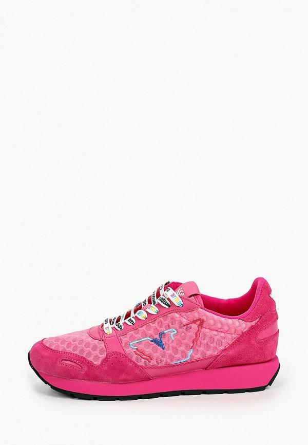 женские низкие кроссовки emporio armani, розовые