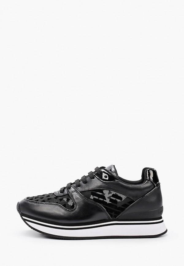 женские низкие кроссовки emporio armani, черные