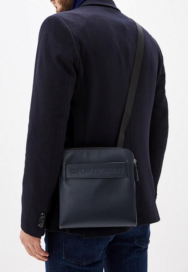 Фото 6 - мужскую сумку Emporio Armani синего цвета