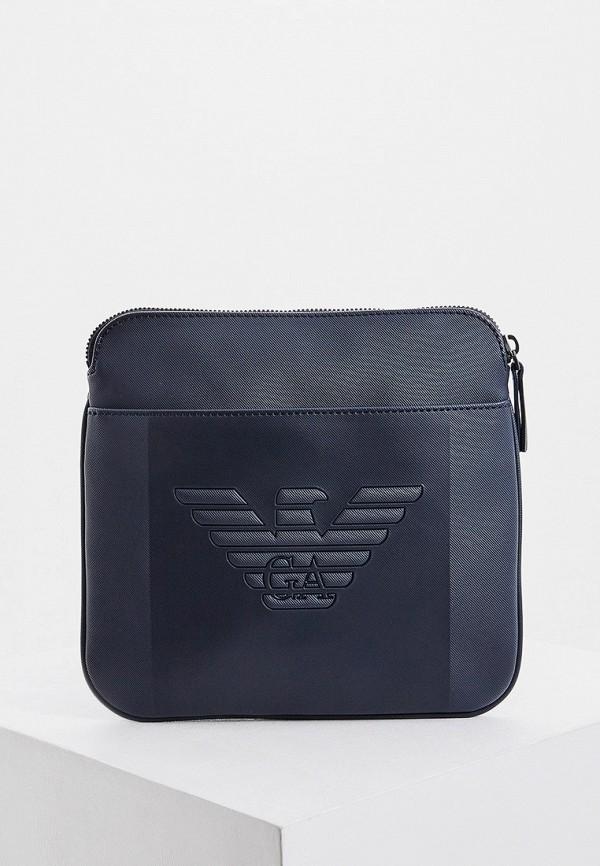 мужская сумка через плечо emporio armani, синяя