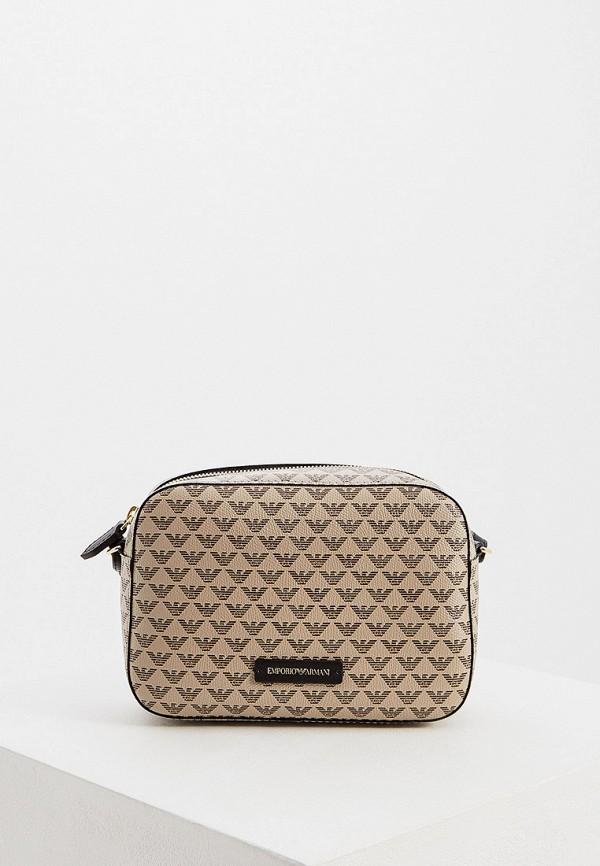женская сумка emporio armani, бежевая