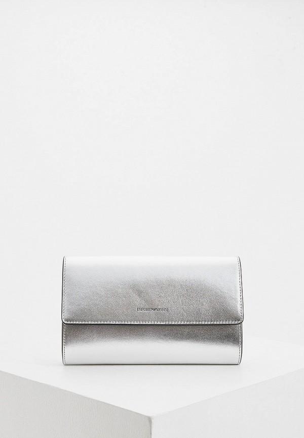 женский клатч emporio armani, серебряный