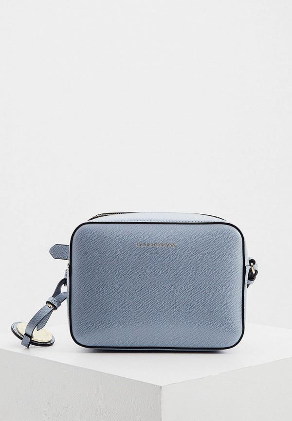 женская сумка через плечо emporio armani, голубая