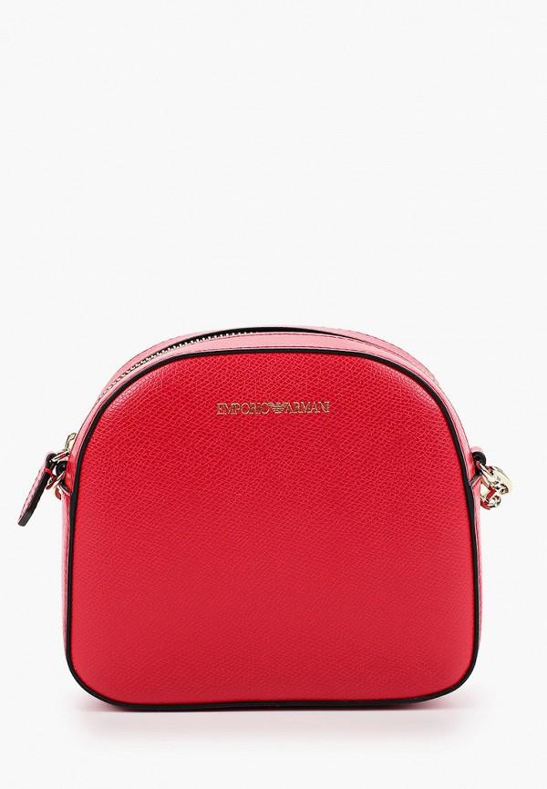 женская сумка через плечо emporio armani, красная