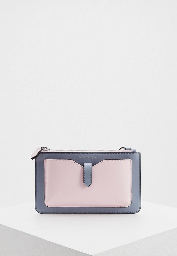 женская сумка через плечо emporio armani, розовая
