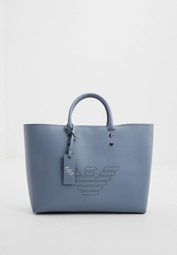 женская сумка-шоперы emporio armani, голубая