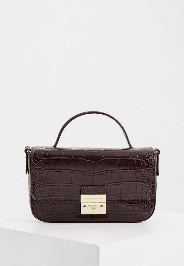 женская сумка emporio armani, коричневая