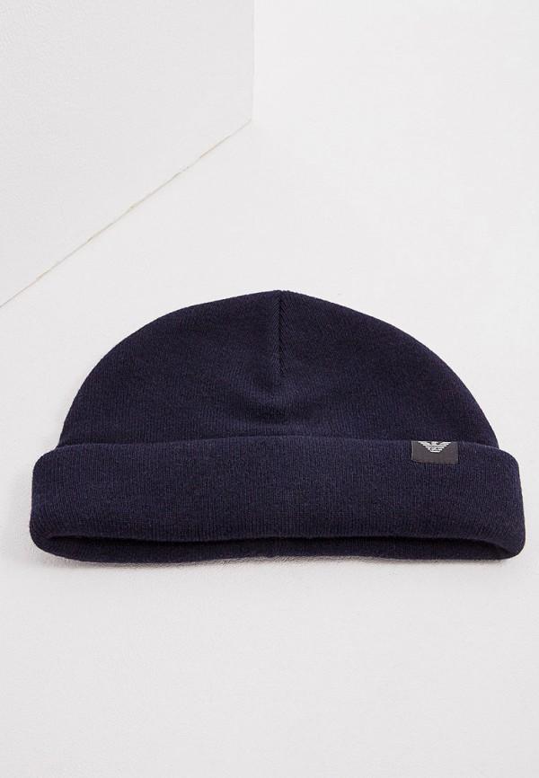 Фото 3 - мужскую шапку Emporio Armani синего цвета