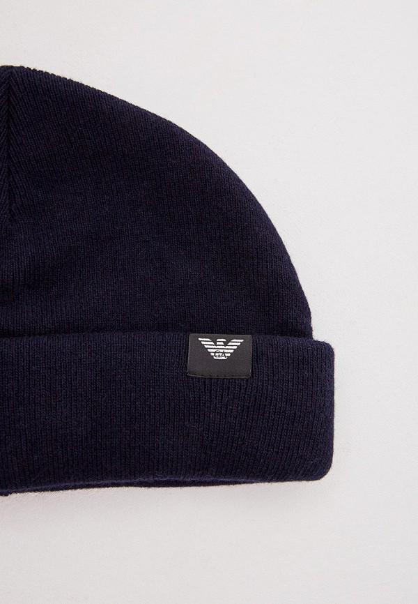 Фото 4 - мужскую шапку Emporio Armani синего цвета