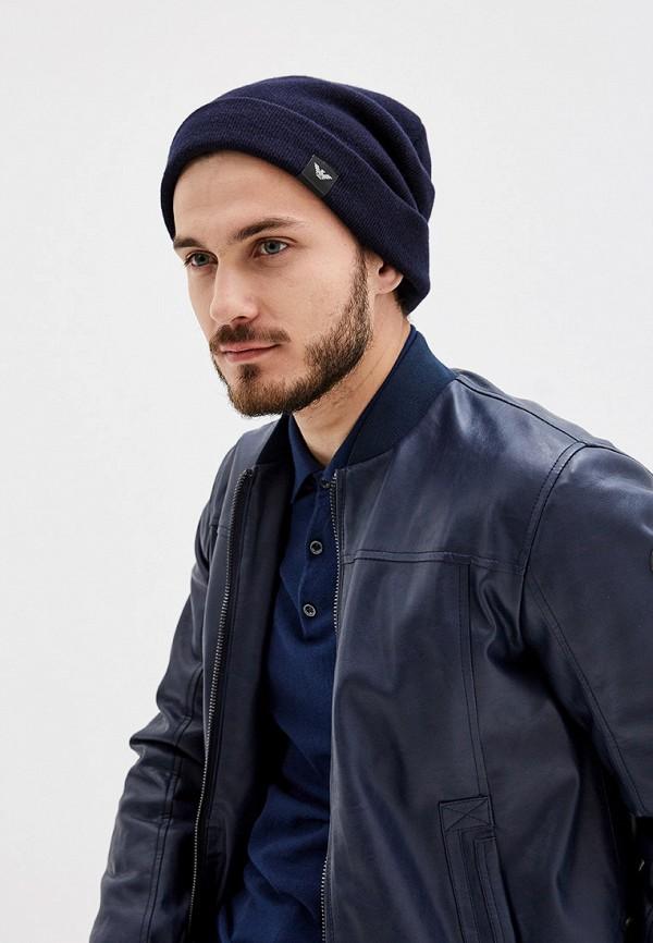 Фото 5 - мужскую шапку Emporio Armani синего цвета