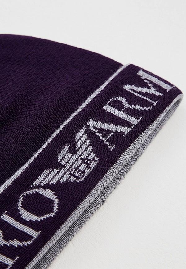 Фото 3 - женскую шапку Emporio Armani фиолетового цвета