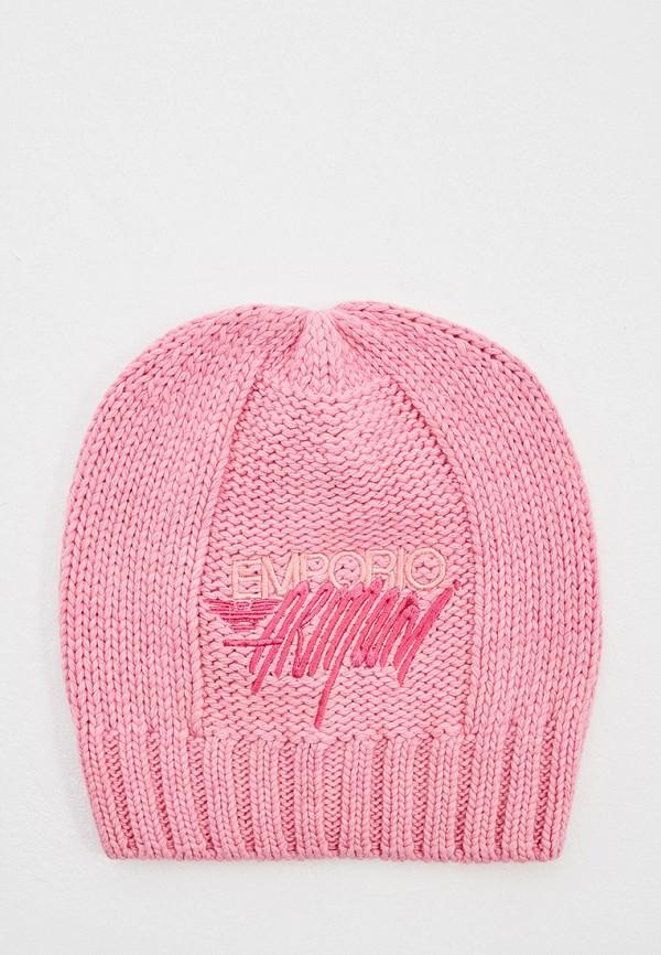женская шапка emporio armani, розовая