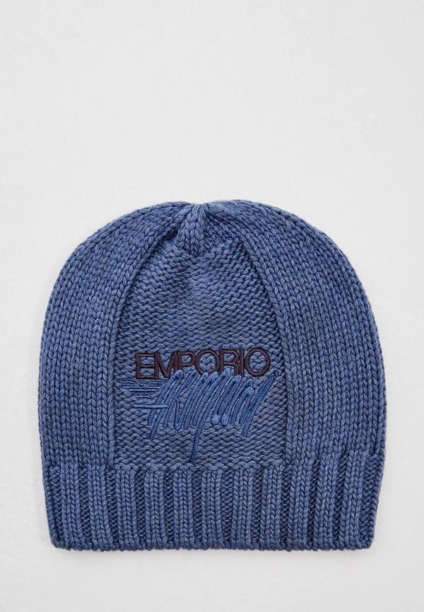 женская шапка emporio armani, синяя