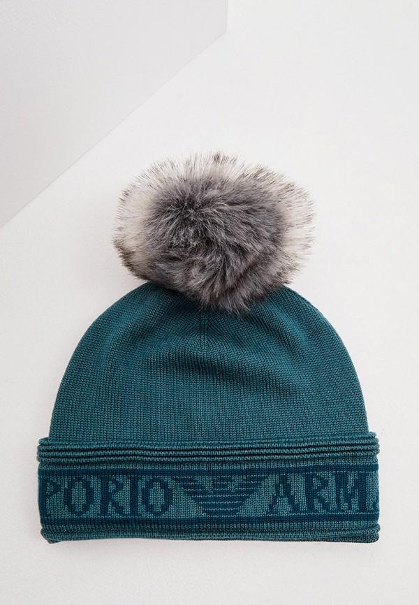 женская шапка emporio armani, зеленая