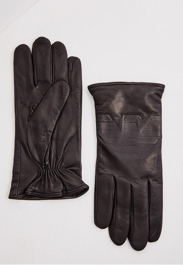 Фото - мужские кожаные перчатки Emporio Armani черного цвета