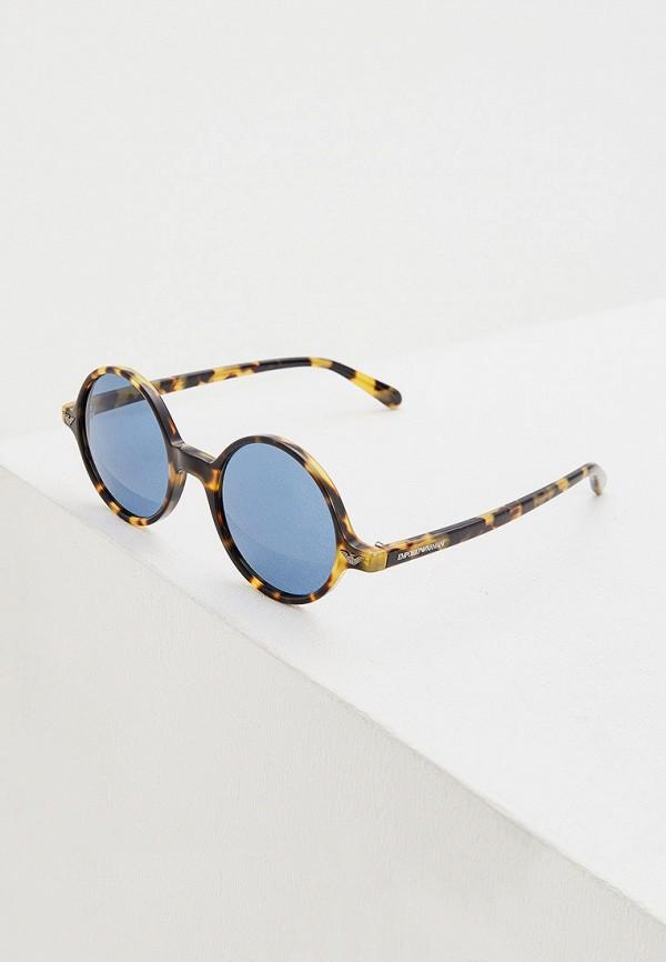 мужские круглые солнцезащитные очки emporio armani, коричневые